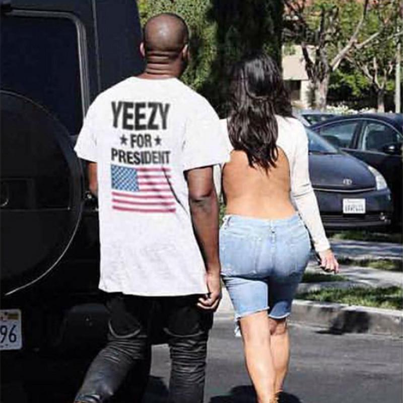 product Knaye West Fear Of God Season 3 Yeezy For President T-shirts Obama American Flag T shirt Men Women Fashion Tees Hip Hop Crop Top