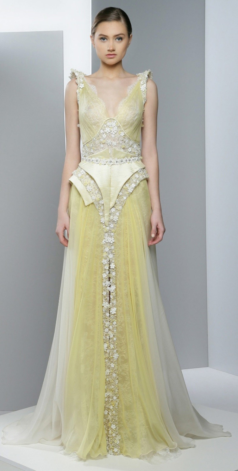 Hot sale ziad nakad long yellow prom dress to income a for Yellow wedding dresses for sale
