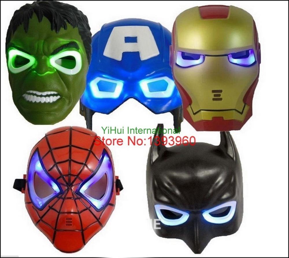 LED Glowing superhero mask for kid & adult Avengers Marvel Captain America Spiderman Hulk Iron man Batman party mask 5pcs/lot(China (Mainland))