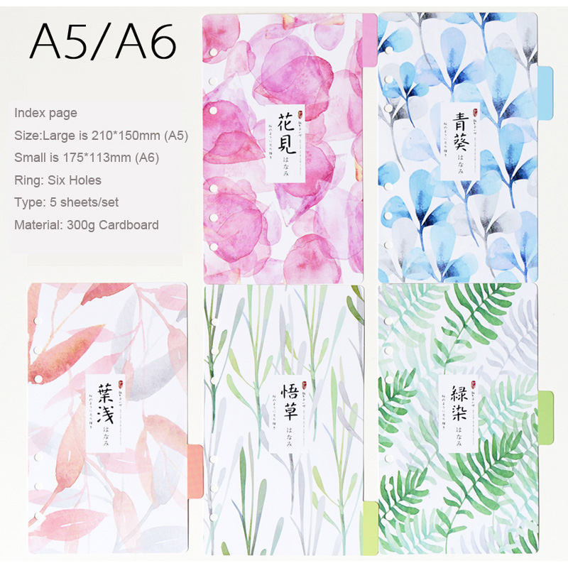 Japanese style Colourful Divider Index page Notebook Day Planner Accessories Bookmark 5 sheets/Set Cute diary school Stationery(China (Mainland))