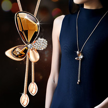Buy Classic Crystal Butterfly Tassel Long Necklace Women Bijoux New Fashion Jewelry Necklaces & Pendants Gift for $3.37 in AliExpress store