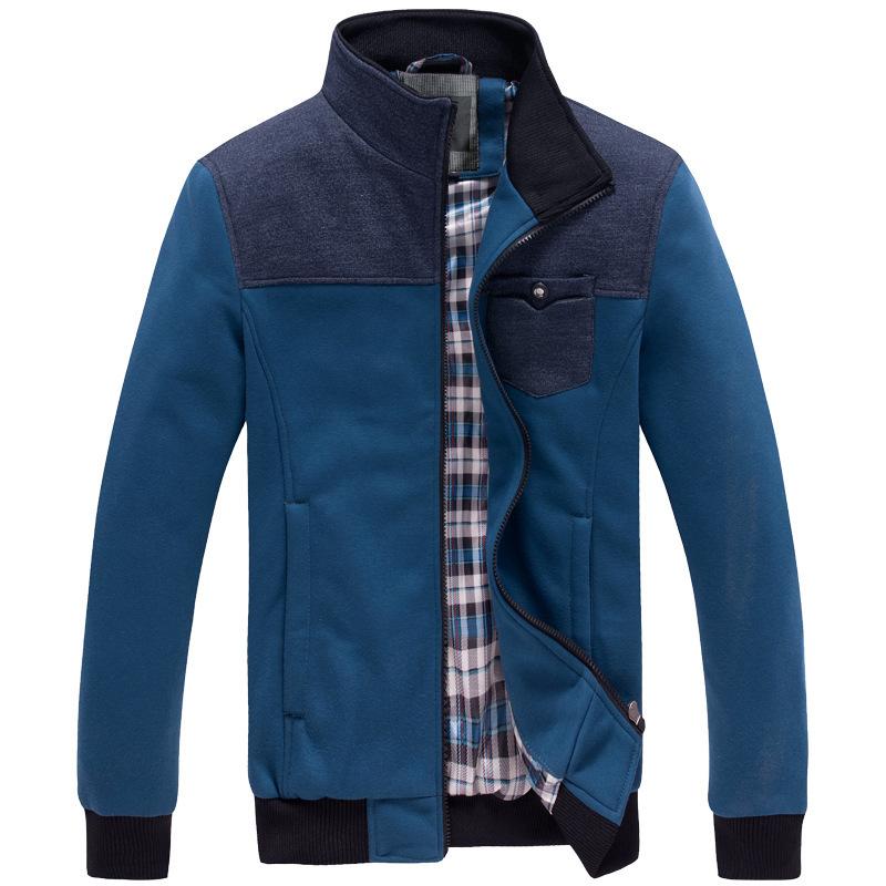 2016 autumn men clothing casual patchwork sweatshirt jacket fashion cardigan coat Male High quality slim sport outerwear 9400(China (Mainland))