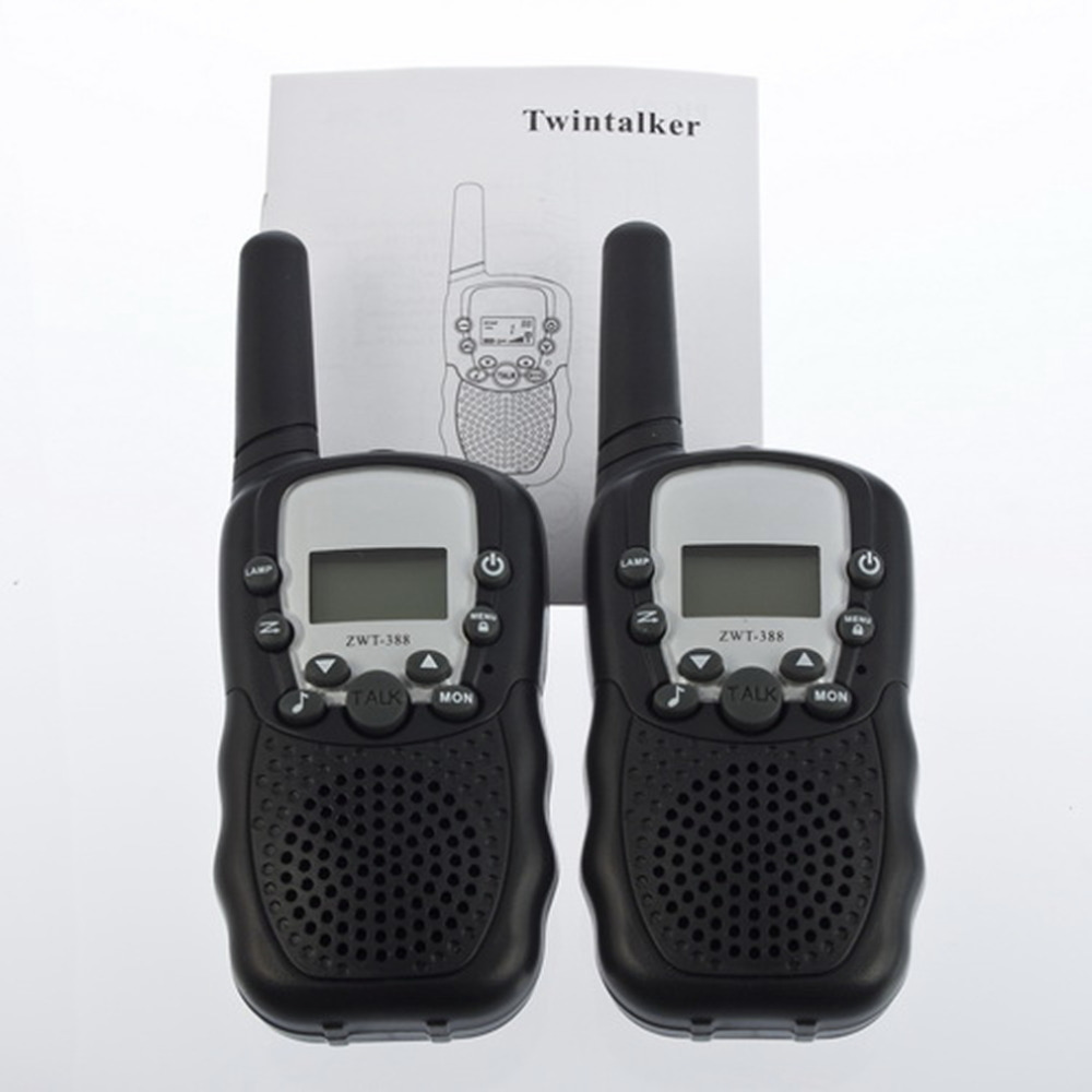 T-388 2pcs Dual Black Adjustable Portable Mini Wireless LCD 5KM UHF Car Auto VOX Multi Channels 2-Way Radio Travel Walkie Talkie(China (Mainland))