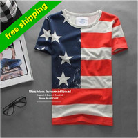 Summer 2015 fashion casual t-shirt men usa american flag men's t shirt men fitness short-sleeved men's clothing camisetas hombre