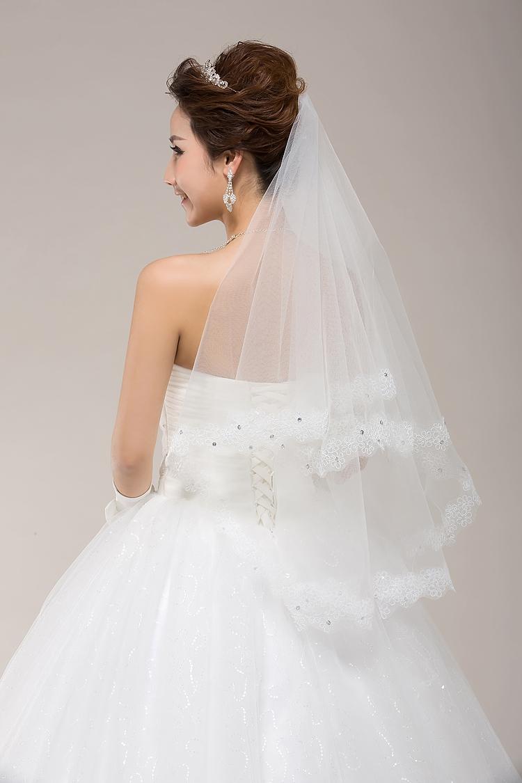 Free Shipping ! 150cm Long ! New Fashion 2016 Wholesale White Ivory Applique Edge Bridal Veils Wedding Veils ACCESSORIES OV2307(China (Mainland))