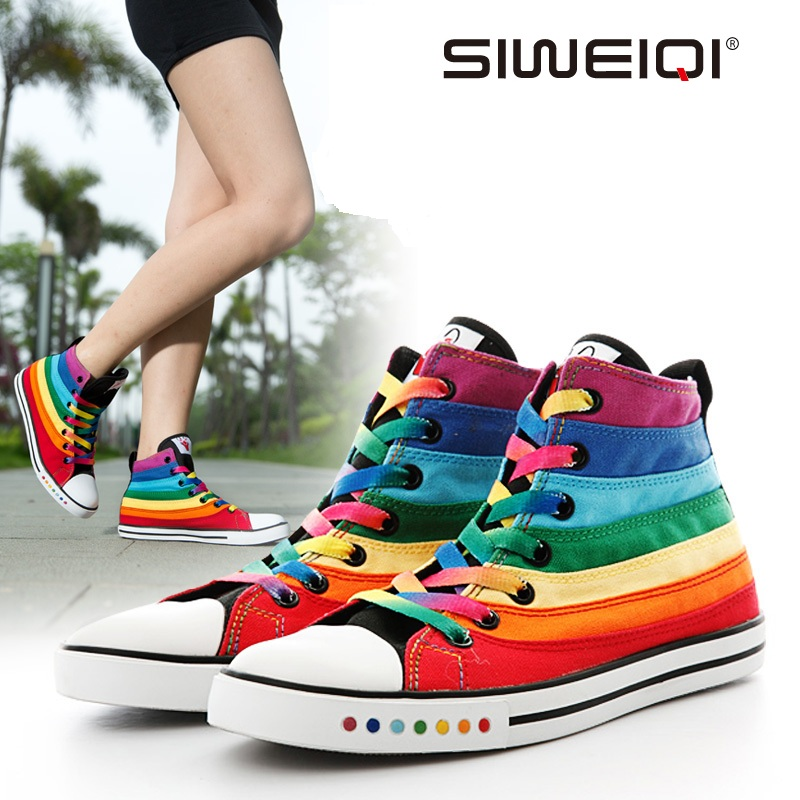 Гаджет  SIWEIQI Women Fashion Colorful Rainbow Superstar Canvas Shoes Top Girly Casual Flats Shoes All-match Stylish Shoes huarache 2214 None Обувь