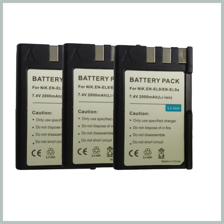 Camera Replace battery 3PCs /lot 2000mAh Li-ion EN-EL9 EN-EL9a EN EL9 batteries for Nikon D40 D60 D40X D5000 D3000 E1007N Eshow(China (Mainland))