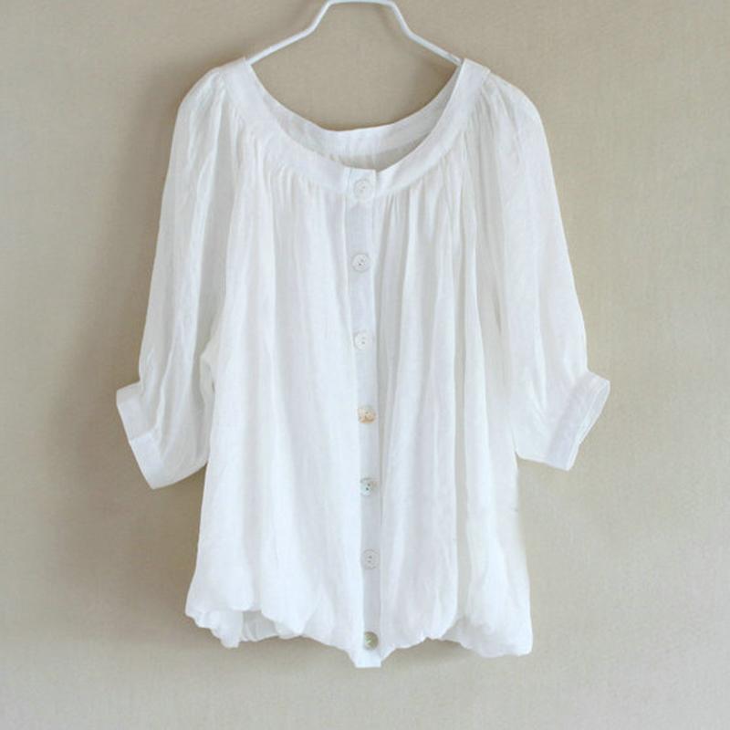 Hemp cotton cute shirt double layer lantern pleated sweep sleeve length plus size shirt(China (Mainland))