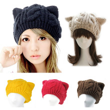 200pcs! Fashion Women Lady Girls Warm Knitting Wool Cute Cat Ear Beanie Hat, Winter Outdoor Ski Sport Cap Superacid Stretch(China (Mainland))