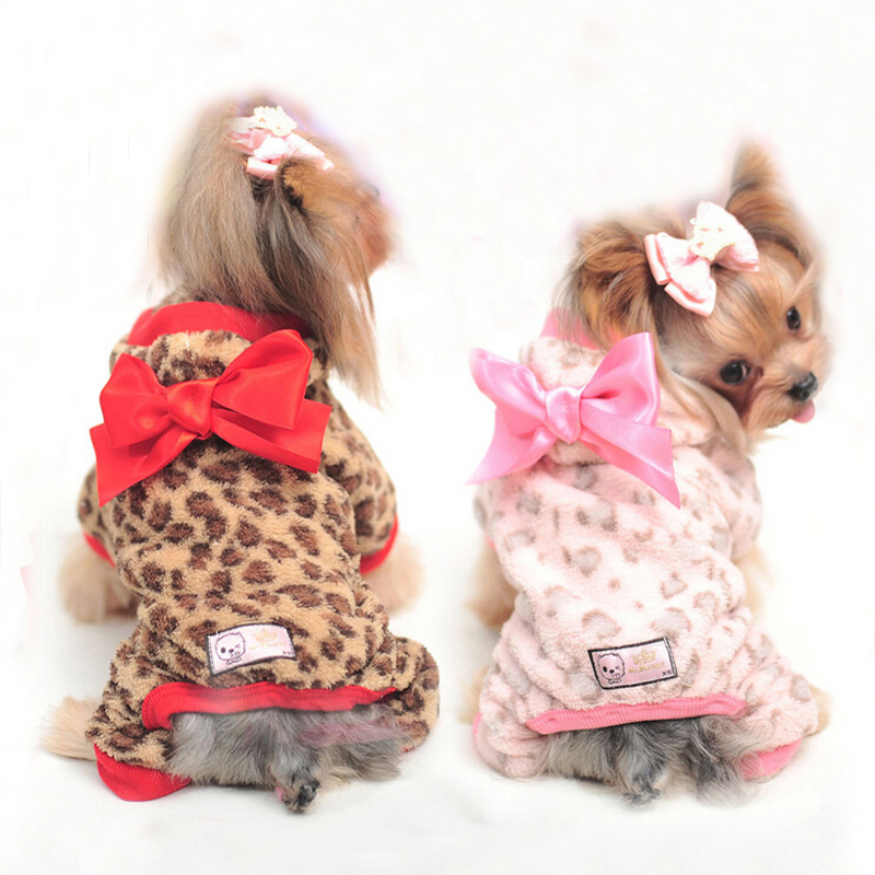 2016 New Fashion Warm Bowknot Leopard Print Dog Clothes Cute Soft Pet Jumpsuit For Small Size XS-XL(China (Mainland))