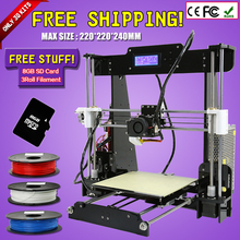 Updated Big size 220*220*240mm High Quality Precision Reprap Prusa i3 DIY 3d Printer kit with 3Rolls Filament 8GB SD card & LCD