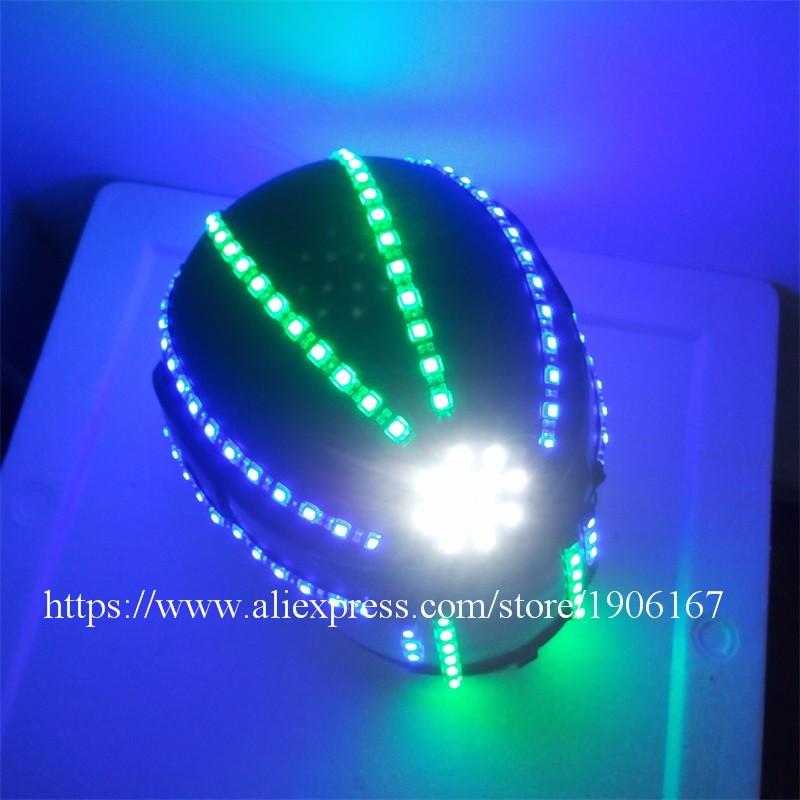 Hot Sale LED Luminous Robot Helmet Led Halloween Christmas Party Headwear For Dancing Bar DJ Club Free Shipping