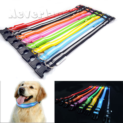 Glow LED Dog Pet Cat Flashing Light Up Nylon Collar Night Safety Collars Supplies Products 8 Color S M L Size Free shipping C05(China (Mainland))
