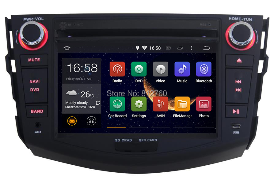 Pure android 4.4 Car DVD for TOYOTA RAV4 2007-2012 with Dual Core CPU:1.6GHz RAM:1GB Built in WIFI 3G Audio Video player Stereo(China (Mainland))