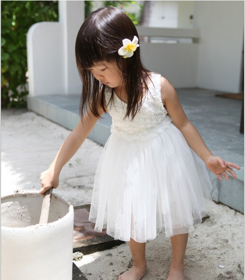 girls rose flower dresses pure white girls party dresses 2013 new design yarn tutu dresses wholesale 5pcs/lot free shipping