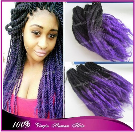 Stock! 20inch folded black\/purple ombre marley braid
