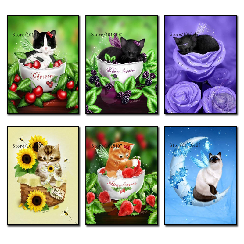 Black Cat and Flower Diamond Embroidery Home Decor DIY Needlework Diamond Painting Cross Stitch 3D 5D Rhinestones Mosaic