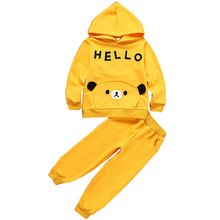 baby clothing sets girls autumn cotton fashion set boys cartoon solid hoodie+pants 2pcs kids clothes ws163