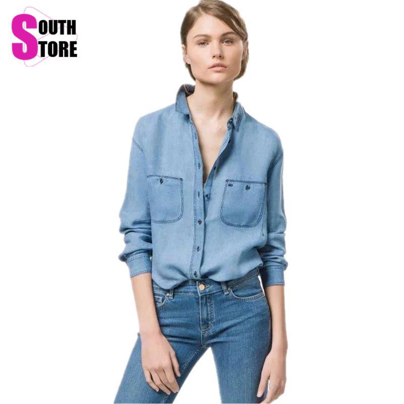 Aliexpress.com : Buy Autumn Casual Washed Blue Denim Shirt ...