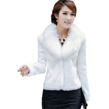 2015 Fashion Long Sleeve Women Fur Coat  Slim V Neck Black White Jacket Winter Warm Thicken Faux Fur Coat(China (Mainland))