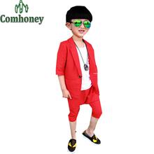 Baby Boys Wedding Suit Kids Tuxedo Blazer Jacket for Boys Red Blue Green Blazer Coat Birthday Party Short Child Summer Suit Set(China (Mainland))