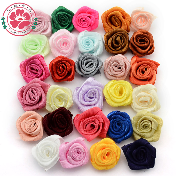 100pcs/lot 20mm Handmade Satin Rosettes Ribbon Rose Flowers Kids Hair Accessories Craft Girl Garment Accessories Flores 1-50(China (Mainland))