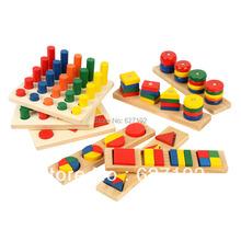 2016 Hot Sale Wooden Educational Toys Montessori Training Aid Eight Piece Geometry Set Column Matching Blocks Toy 8 pcs/set(China (Mainland))