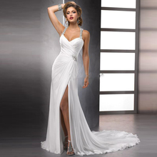 Real Sample Sexy Crystal Beaded Halter Racer Back Chiffon Destination Wedding Dress with Front Slit Free Shipping(China (Mainland))