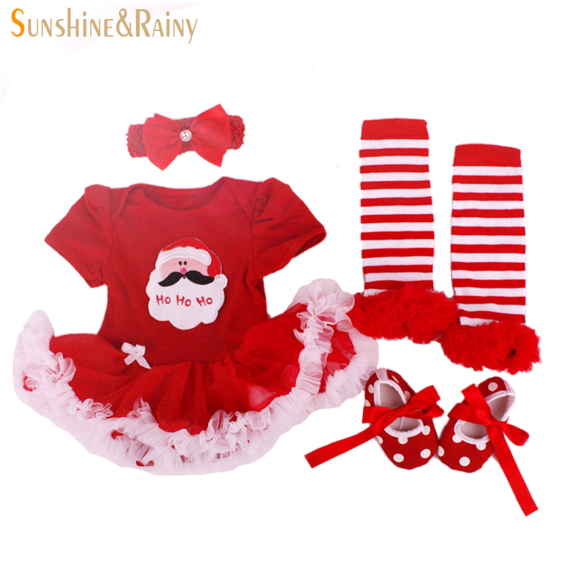 Christmas Gifts,Newborn Baby Costumes,Kids Romper Girls tutu Dress+Headband+Colorful Socks+Shoes Set Toddler Clothes Sets - sunshine & rainy official store