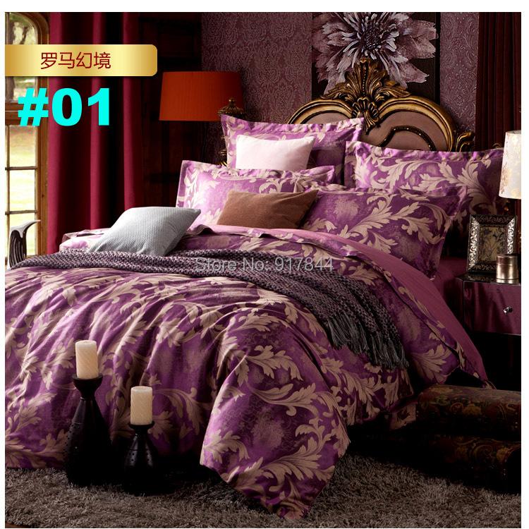 BS08 wholesale free shipping new 4pcs Luxurious Jacquard Duvet Cover Set/Silk Comforter Set/Bedding Set 15 design(China (Mainland))
