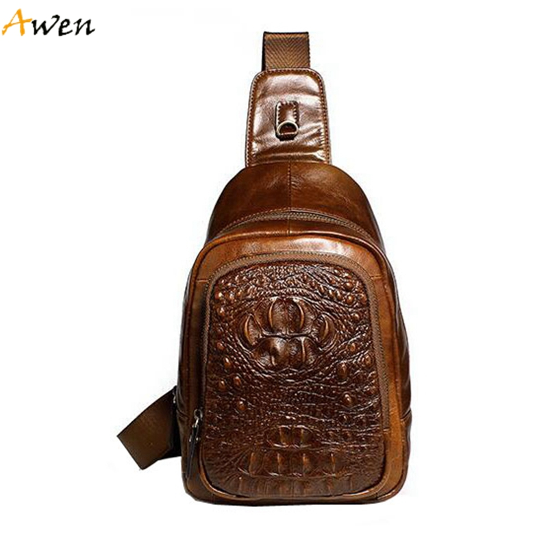 Awen - Luxury Alligator Pattern Man Chest Bag,Fashion Casual Embossed Full-grain Leather Mens Shoulder Bag,Waterproof Men Bolsa<br><br>Aliexpress
