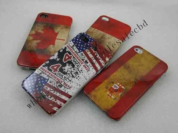 1000pcs/lot Mix Vintage Nation Flag Canada US Spain Hungary Plastic hard back case for iphone 4 4S(China (Mainland))