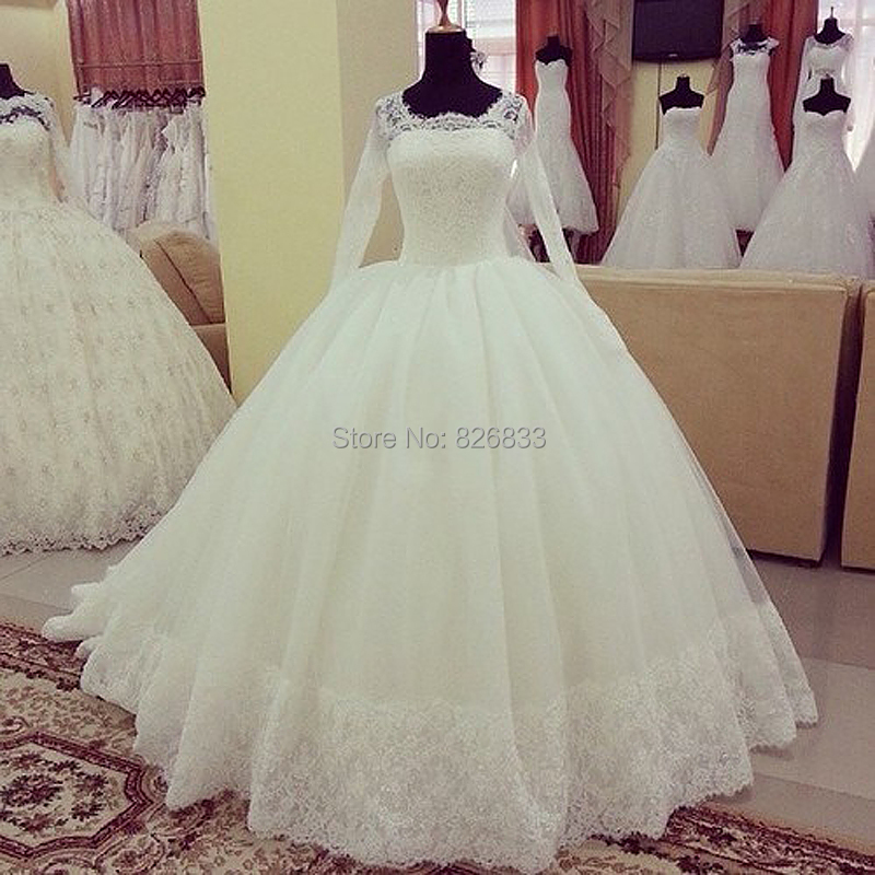 2015 New Arrival Wedding Dresses Modest Long Sleeves Lace