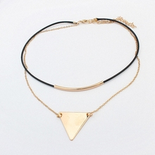 Buy New Fashion Retro Geometric Triangle Pendant Collar Double chains leather simple choker necklace gift women girl 122908 for $1.16 in AliExpress store