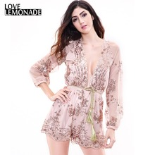 Buy Love&Lemonade Gold Sequined Lace V-Neck Belt Jumpsuits TB 8799 for $35.99 in AliExpress store