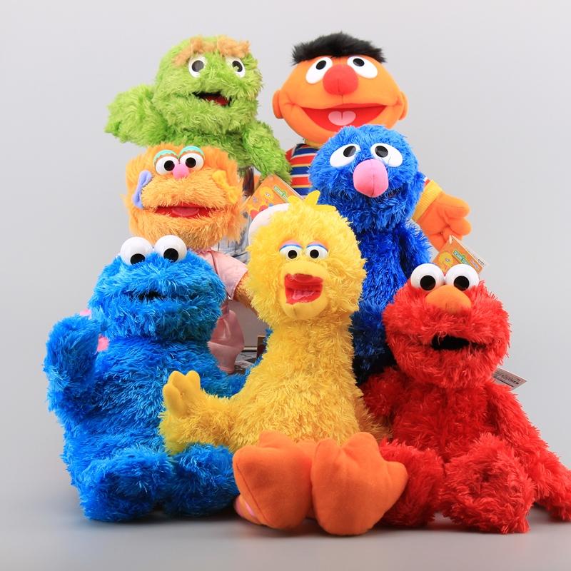 7 Styles Hot Sesame Street Elmo Cookie Grover Girl Zoe Boy Ernie Big Bird Plush Toys Stuffed Animals Kids Soft Dolls 28-36 cm(China (Mainland))
