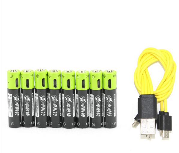 8pcs/lot  AAA ZNTER 400mah 1.5v li-polymer lithium li-ion rechargeable battery for camera toys ect.with USB charging cable<br><br>Aliexpress