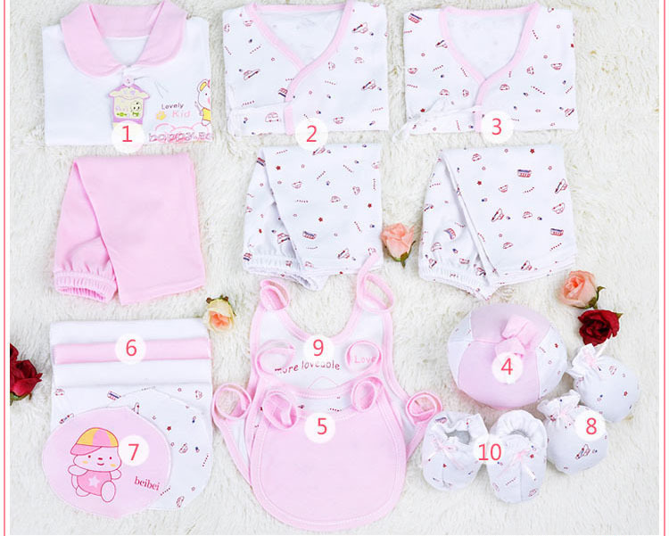 free shipping 2015 Hot 100 Cotton 18pcs newborn gift set baby clothing boys girls suits High