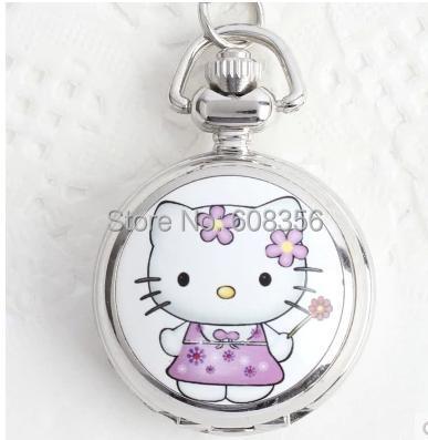 fashion silver Animated cartoon hello Kitty quartz pocket watches nacklace children pendant best gift(China (Mainland))