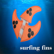 New Hot Three Pieces Caudal Surfboard With Fiberglass Honeycomb Bamboo Surf Fins Tail Rudder(China (Mainland))