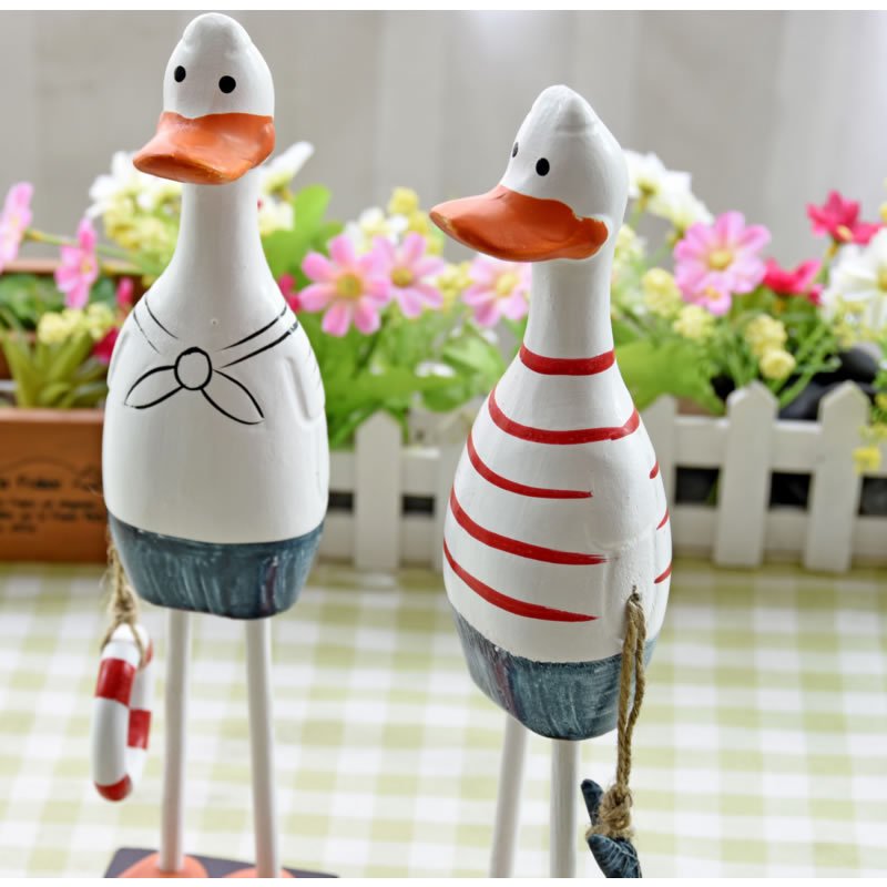 2pcs/lot Mediterranean-style Wooden Furnishing Articles Couples Duck Wooden Ornaments Decoration Crafts(China (Mainland))