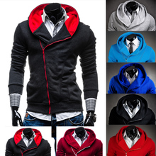 Hoodies Men 2016 Brand Male Long Sleeve Hoodie Inclined Zipper Pocket Sweatshirt Mens Moletom Masculino Hoodies Slim Tracksuit(China (Mainland))