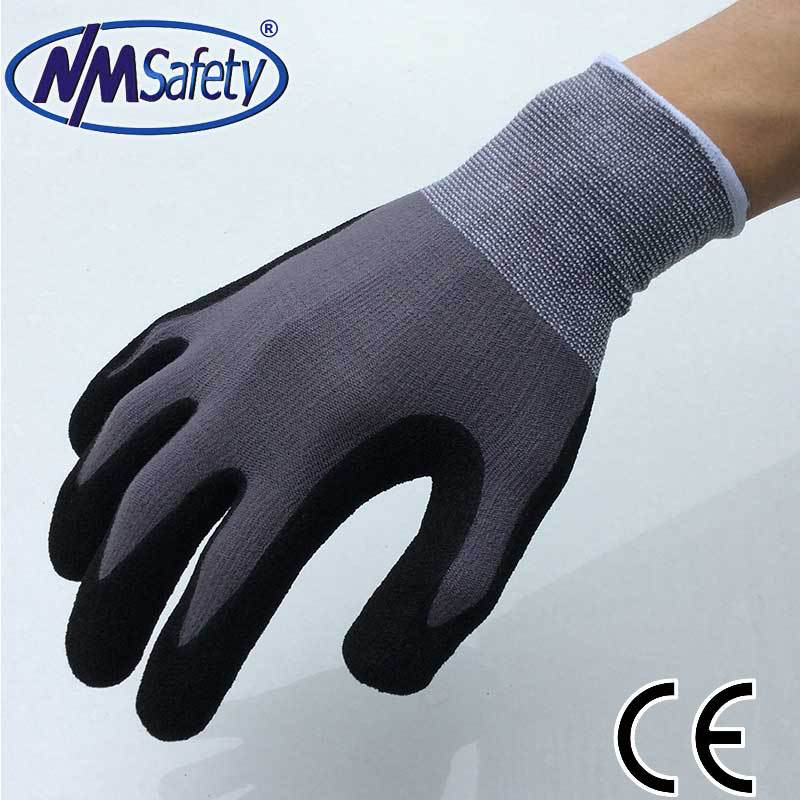 2016 NMSafety New arrival spandex liner coated foam nitrile protective gloves for work,industrial glove(China (Mainland))