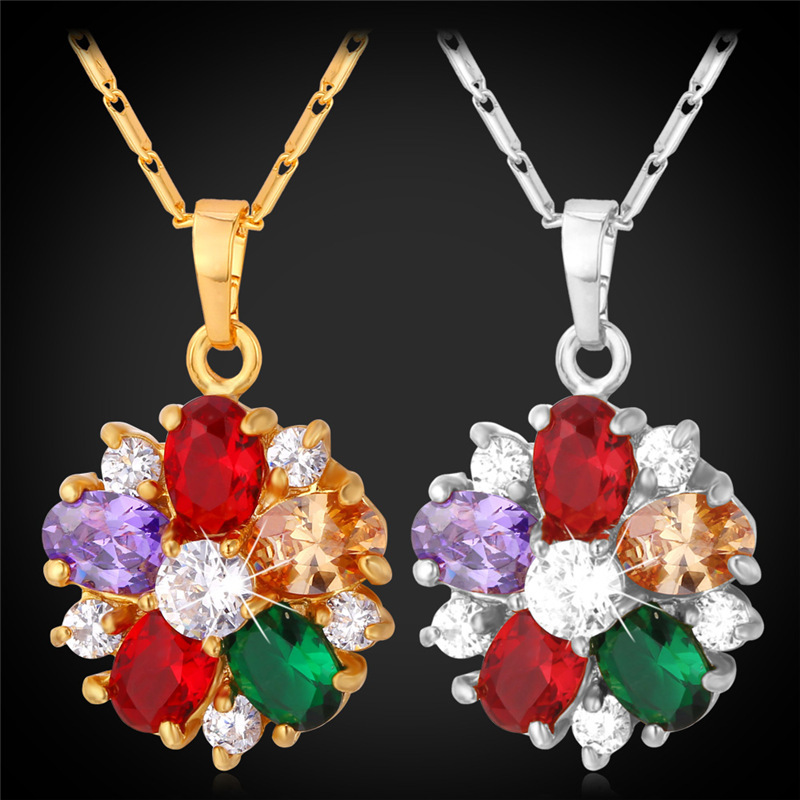 Crystal Necklaces For Women 18K Real Gold Plated 2015 Fashion Jewelry Luxury Mix-Color Cubic Zirconia Necklaces & Pendants P1109(China (Mainland))