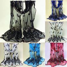 Delle donne del pavone fiori ricamati in pizzo sciarpa lunga molle dello scialle dell'involucro della stola pashmina 2M9C(China (Mainland))