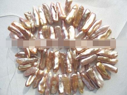 xiuli 000473 wholesale 25*7*5mm purple biwa freshwater pearl beads(China (Mainland))