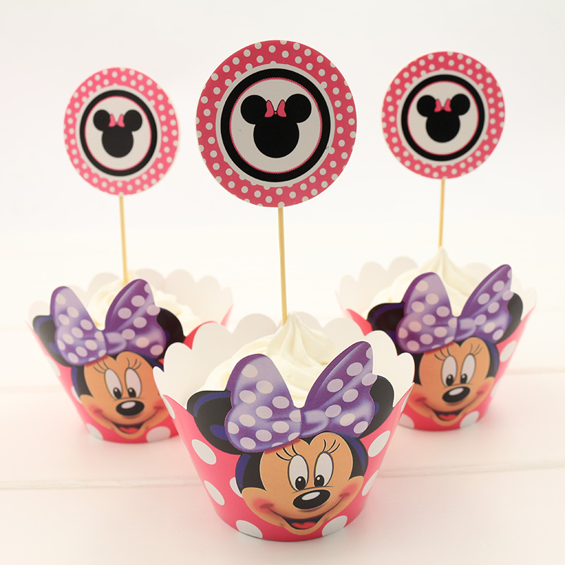 24 PCS High Quality Party Birthday Decoration Wedding Cup Cake Wrappers Red Minnie Mouse Party supplies CupCakes Toppers Picks(China (Mainland))