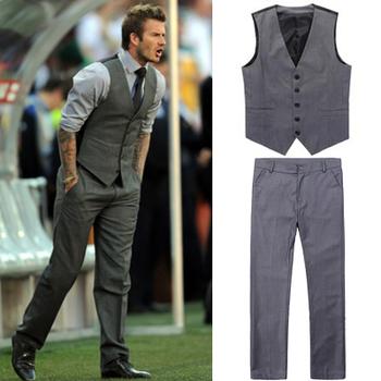 ( Брюки + жилет ) бекхэм мужчины костюмы приталенный Fit обычный смокинг Bridegroon бизнес вечерние костюмы пиджак комплект