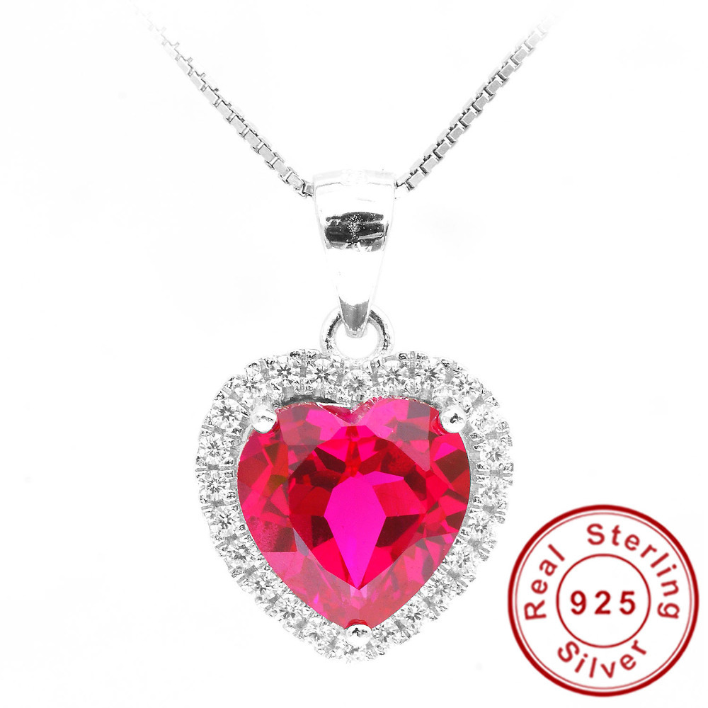 Feelcolor 4.5ct Pigeon Blood Red Gem Stone Ruby Pendant Heart For Women Wedding 18k Gold Plated 925 Sterling Silver Fine Jewelry(China (Mainland))