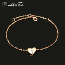 Love Heart OL Style Smooth Metal Chain Bracelets & Bangles 18K Rose Gold Plated Fashion Jewelry For Women Wholesale DFH199(China (Mainland))